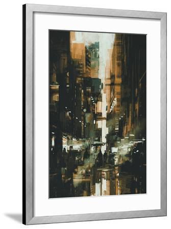 Narrow Alley in Dark City,Illustration Painting-Tithi Luadthong-Framed Art Print