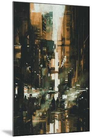 Narrow Alley in Dark City,Illustration Painting-Tithi Luadthong-Mounted Art Print