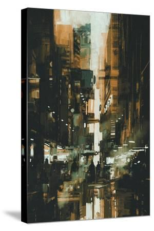 Narrow Alley in Dark City,Illustration Painting-Tithi Luadthong-Stretched Canvas Print