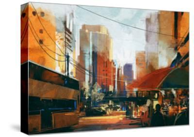 Painting of City Street in the Morning,Illustration-Tithi Luadthong-Stretched Canvas Print