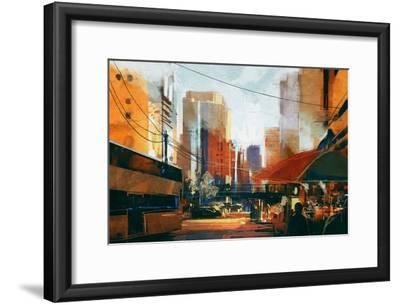 Painting of City Street in the Morning,Illustration-Tithi Luadthong-Framed Art Print