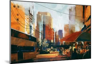 Painting of City Street in the Morning,Illustration-Tithi Luadthong-Mounted Art Print