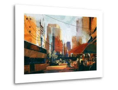 Painting of City Street in the Morning,Illustration-Tithi Luadthong-Metal Print