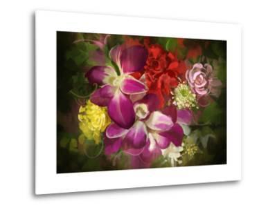 Mixed Flower Bouquet,Digital Painting,Illustration-Tithi Luadthong-Metal Print