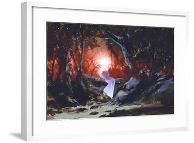 Spirit of the Enchanted Forest,Woman in the Dark Woods,Illustration Painting-Tithi Luadthong-Framed Art Print