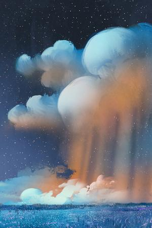 Night Scenery of Big Cumulonimbus Clouds over Field,Landscape,Illustration Painting-Tithi Luadthong-Framed Art Print