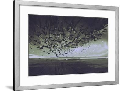 Attack of Crows,Man Running Away from Flock of Birds,Illustration Painting-Tithi Luadthong-Framed Art Print