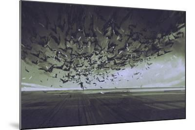 Attack of Crows,Man Running Away from Flock of Birds,Illustration Painting-Tithi Luadthong-Mounted Art Print