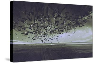 Attack of Crows,Man Running Away from Flock of Birds,Illustration Painting-Tithi Luadthong-Stretched Canvas Print
