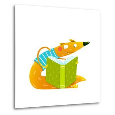 Cute Red Fox Sitting and Reading Book. Wildlife Brightly Colored Hand Drawn Watercolor Style Cartoo-Popmarleo-Metal Print
