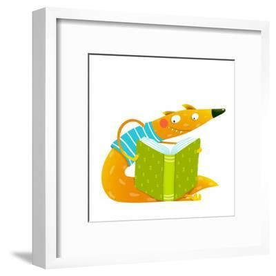 Cute Red Fox Sitting and Reading Book. Wildlife Brightly Colored Hand Drawn Watercolor Style Cartoo-Popmarleo-Framed Art Print