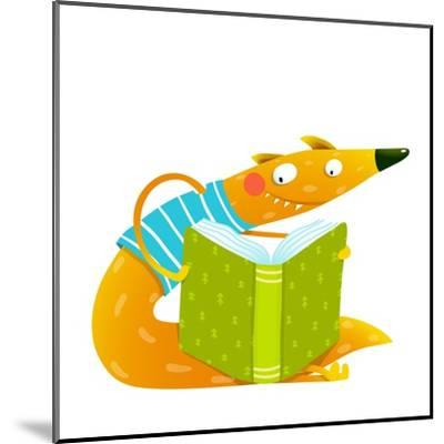 Cute Red Fox Sitting and Reading Book. Wildlife Brightly Colored Hand Drawn Watercolor Style Cartoo-Popmarleo-Mounted Art Print