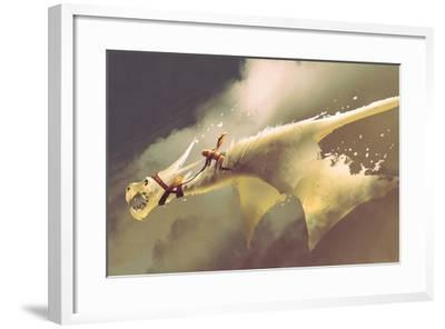 Man Riding on the White Flying Dragon against a Cloudy Sky,Illustration Painting-Tithi Luadthong-Framed Art Print