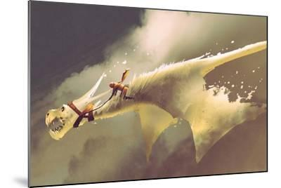 Man Riding on the White Flying Dragon against a Cloudy Sky,Illustration Painting-Tithi Luadthong-Mounted Art Print