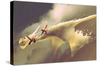 Man Riding on the White Flying Dragon against a Cloudy Sky,Illustration Painting-Tithi Luadthong-Stretched Canvas Print