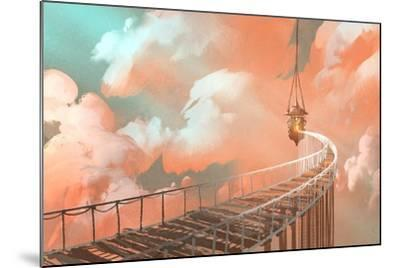 Rope Bridge Leading to the Hanging Lantern in a Clouds,Illustration Painting-Tithi Luadthong-Mounted Art Print
