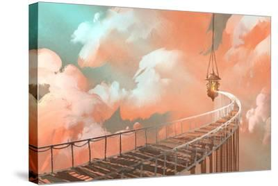 Rope Bridge Leading to the Hanging Lantern in a Clouds,Illustration Painting-Tithi Luadthong-Stretched Canvas Print