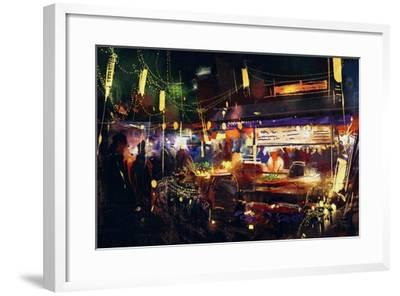 Painting of Colorful Market at Night ,Movement on People Walking-Tithi Luadthong-Framed Art Print
