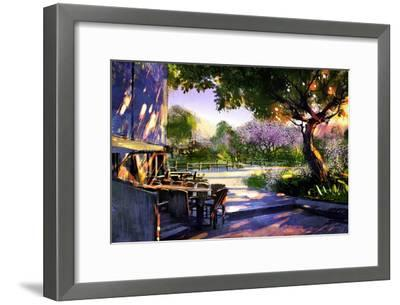 Digital Painting Showing Beautiful Sunny in the Park,Illustration-Tithi Luadthong-Framed Art Print
