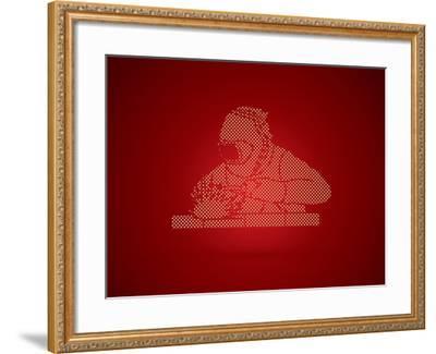 Welder Working Welding Designed Using Dots Pixels Graphic Vector-Arak Rattanawijittakorn-Framed Art Print