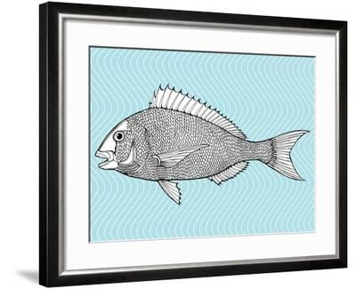 Stylized Fish. Sea Fish. Dorado. Black and White Drawing by Hand. Line Art. Tattoo. Doodle. Graphic-In Art-Framed Art Print