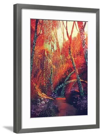 Colorful Autumnal Forest with Fantasy Trees,Scenery Illustration Painting-Tithi Luadthong-Framed Art Print