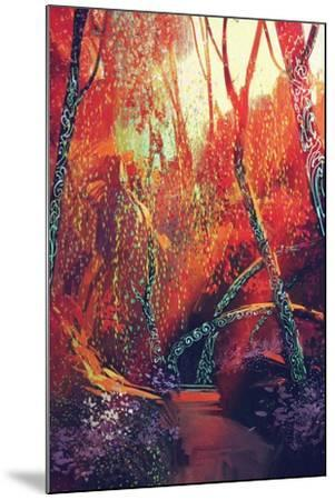 Colorful Autumnal Forest with Fantasy Trees,Scenery Illustration Painting-Tithi Luadthong-Mounted Art Print
