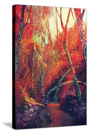 Colorful Autumnal Forest with Fantasy Trees,Scenery Illustration Painting-Tithi Luadthong-Stretched Canvas Print