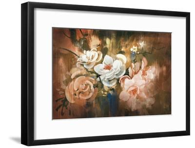 Digital Painting of Abstract Flowers-Tithi Luadthong-Framed Art Print