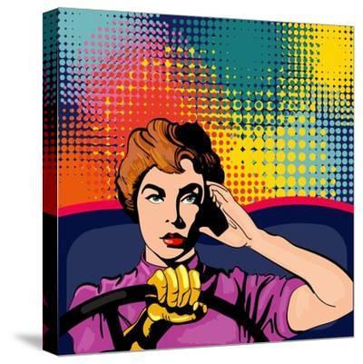 Woman Driving a Car Pop Art Vector Illustration-intueri-Stretched Canvas Print