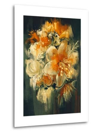 Bouquet Flowers in Oil Painting Style,Illustration-Tithi Luadthong-Metal Print