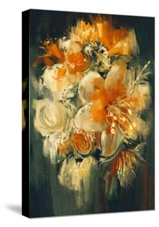 Bouquet Flowers in Oil Painting Style,Illustration-Tithi Luadthong-Stretched Canvas Print