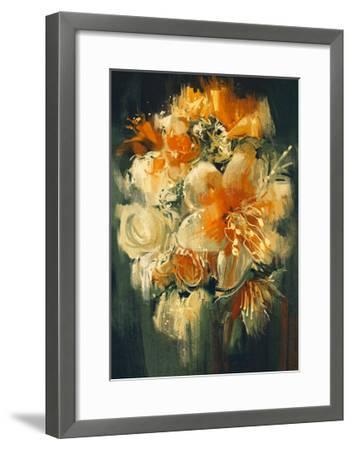 Bouquet Flowers in Oil Painting Style,Illustration-Tithi Luadthong-Framed Art Print