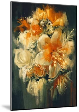 Bouquet Flowers in Oil Painting Style,Illustration-Tithi Luadthong-Mounted Art Print