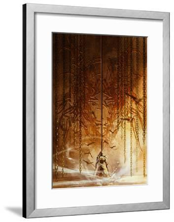 Knight Standing in Front of the Huge Gate,Digital Painting,Illustration-Tithi Luadthong-Framed Art Print