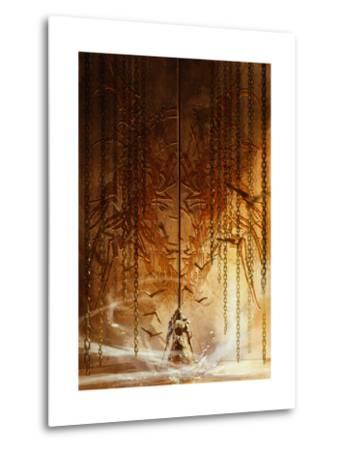 Knight Standing in Front of the Huge Gate,Digital Painting,Illustration-Tithi Luadthong-Metal Print