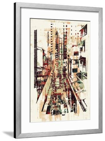Abstract Art of Cityscape,Illustration Painting-Tithi Luadthong-Framed Art Print