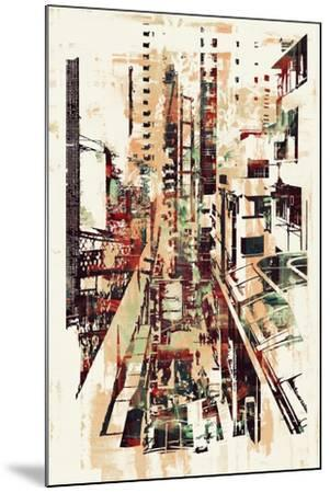 Abstract Art of Cityscape,Illustration Painting-Tithi Luadthong-Mounted Art Print