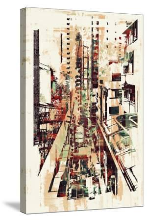 Abstract Art of Cityscape,Illustration Painting-Tithi Luadthong-Stretched Canvas Print