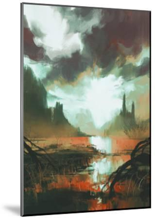 Fantasy Landscape of Mystic Red Swamp at Sunset,Illustration-Tithi Luadthong-Mounted Art Print