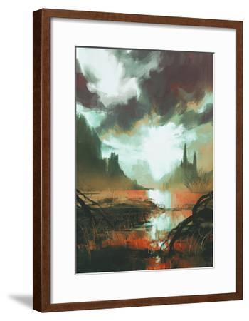 Fantasy Landscape of Mystic Red Swamp at Sunset,Illustration-Tithi Luadthong-Framed Art Print