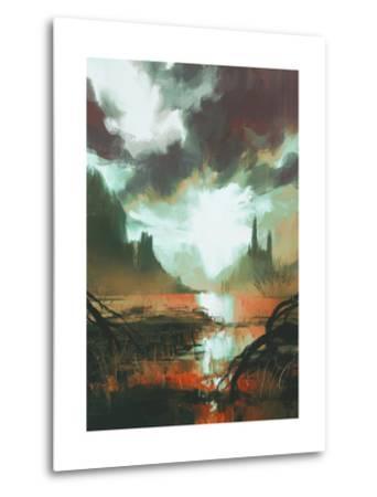 Fantasy Landscape of Mystic Red Swamp at Sunset,Illustration-Tithi Luadthong-Metal Print