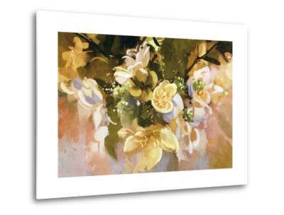 Digital Painting of Abstract Flowers,Illustration-Tithi Luadthong-Metal Print