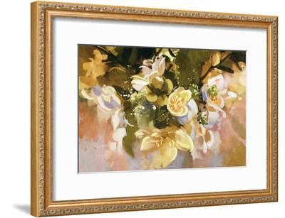 Digital Painting of Abstract Flowers,Illustration-Tithi Luadthong-Framed Art Print
