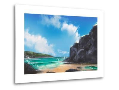 Beautiful Beach Summer Natural Outdoor,Digital Painting-Tithi Luadthong-Metal Print