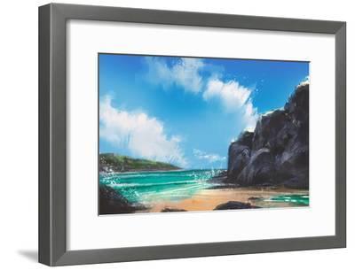Beautiful Beach Summer Natural Outdoor,Digital Painting-Tithi Luadthong-Framed Art Print