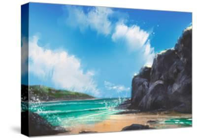 Beautiful Beach Summer Natural Outdoor,Digital Painting-Tithi Luadthong-Stretched Canvas Print