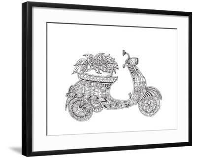 Hand-Drawn Scooter with Ethnic Floral Doodle Pattern. Coloring Page - Zendala, Design for Spiritual-Evgeniya Anfimova-Framed Art Print