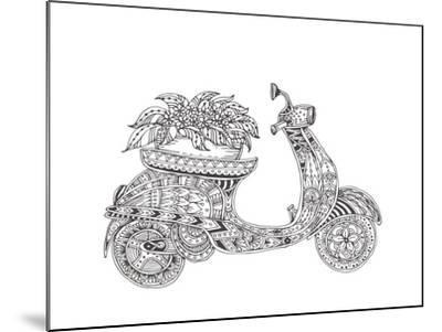 Hand-Drawn Scooter with Ethnic Floral Doodle Pattern. Coloring Page - Zendala, Design for Spiritual-Evgeniya Anfimova-Mounted Art Print
