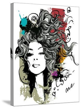 Ink Print with Girl and Decorative Hair for T-Shirt-A Frants-Stretched Canvas Print